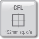 DOT Downlights - CFL Horizontal - 192mm sq