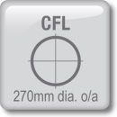 DOT Downlights - CFL Horizontal - 270mm dia